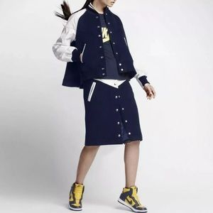 NIKE SACAI leather wool midi navy skirt sport lace